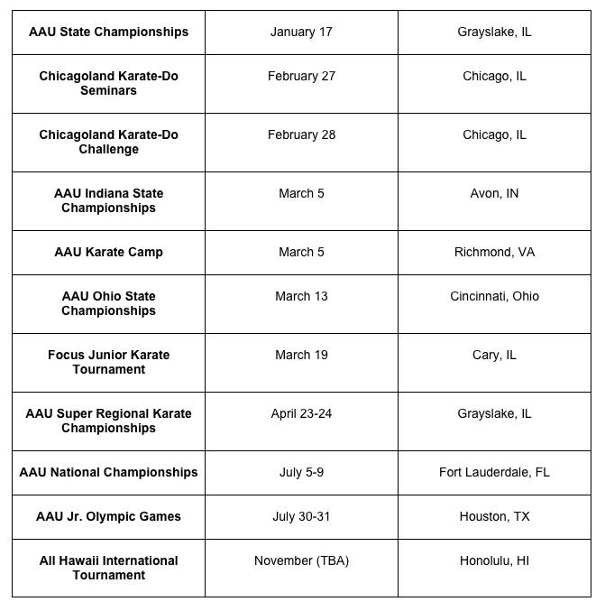 2016 Tournament Listing